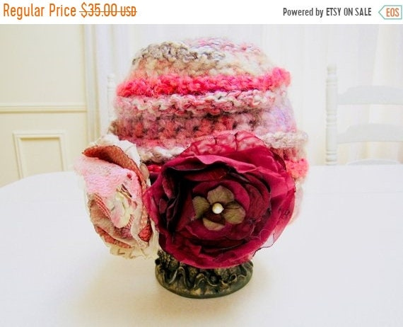 Girls warm pink winter hat, shabby chic wool hat