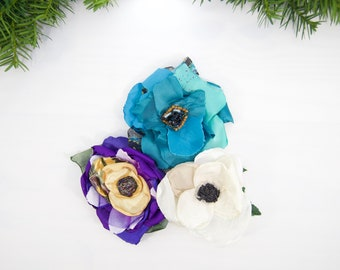 Bundle of Three Hair Clips For Women. Gift Set of Pinup Fabric Flowers. Purple, Teal and White Hairpin Set