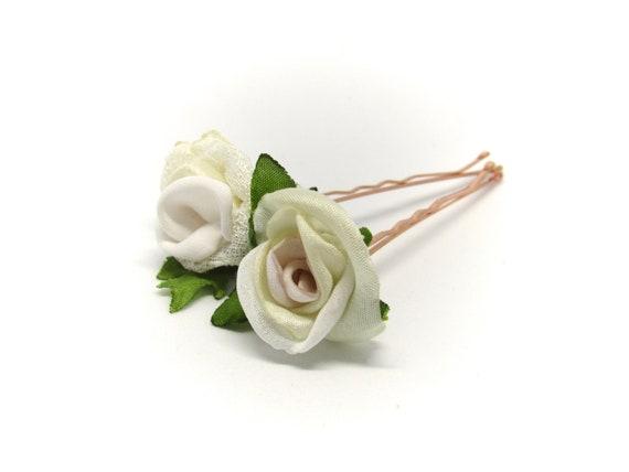 Pair of Mini White Rose Hair Pins, Bridal Hair Pins, Silk Roses