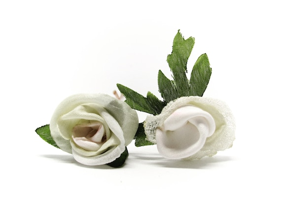 Pair of Mini White Rose Hair Pins, Bridal Hair Pins, Silk Roses