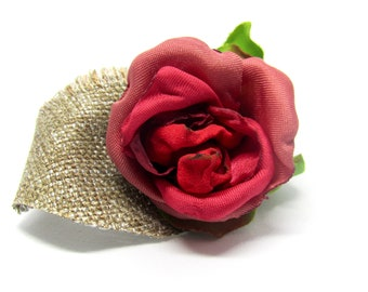 Rustic Red Rose Lapel Pin. Brooch Pin. Boutonniere
