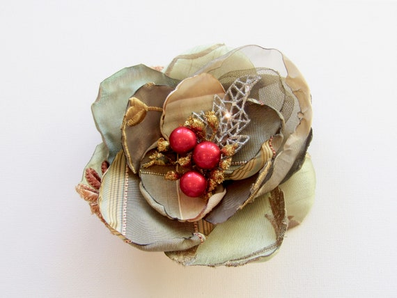 olive green large pinup festive holiday hair fascinator hair flower