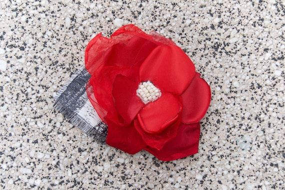 Red Fabric Flower Hair Accessory
