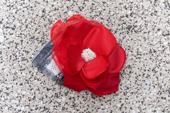 Crimson Red Flower Hair Accessory