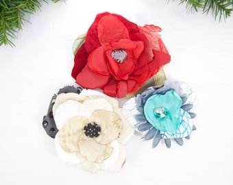 Bundle of Three Hair Clips For Women. Gift Set of Pinup Fabric Flowers. Red, Teal and White Hairpin Set