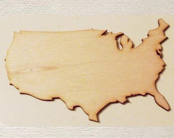 United States - USA - (Small) Wood Cut Out -  Laser Cut