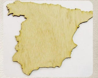Spain (Small) Wood Cut Out -  Laser Cut