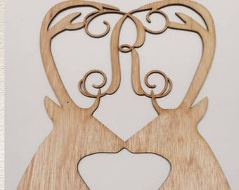 Antler Heart Monogram/ Kissing Deer /  Laser Cut Wood
