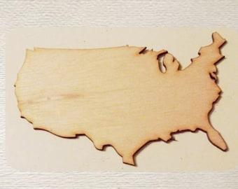 United States - USA - (Medium) Wood Cut Out - Laser Cut