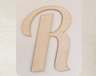 Wood Cut Out Single Initial  Monogram Medium Laser Cut