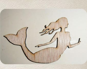 Mermaid  (Large ) Wood Cut Out -  Laser Cut