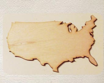 United States - USA -  (Large ) Wood Cut Out -  Laser Cut
