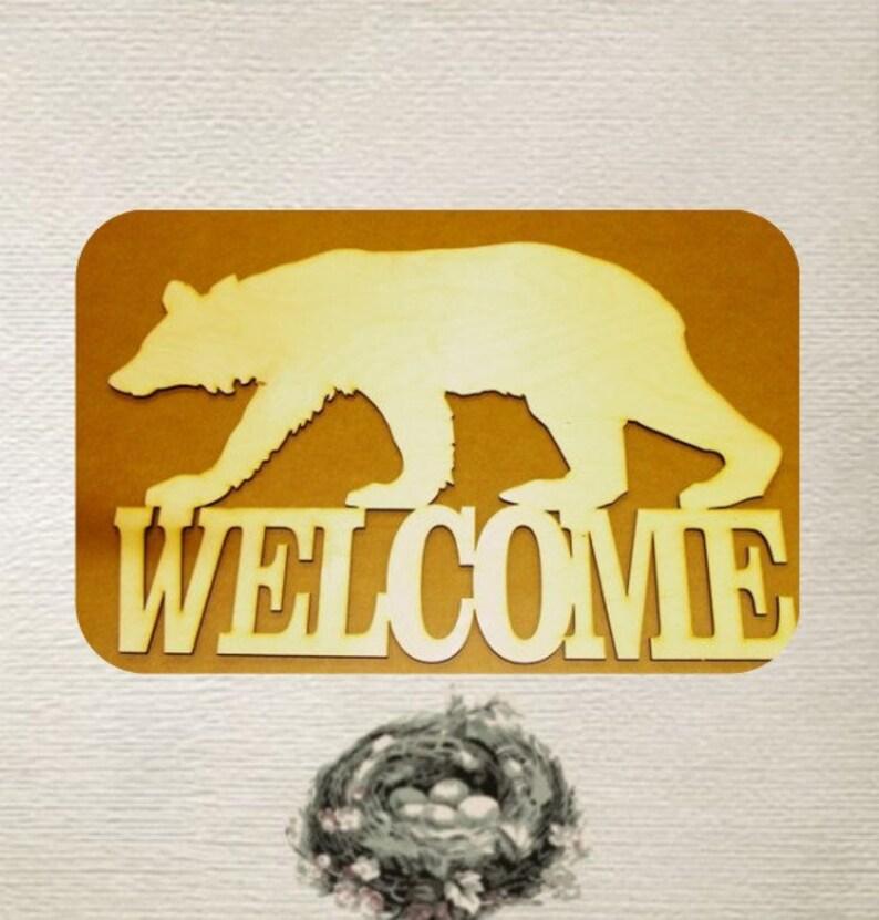 Wood Cut Out Bear Welcome Sign  Black Bear  Welcome Medium Laser Cut
