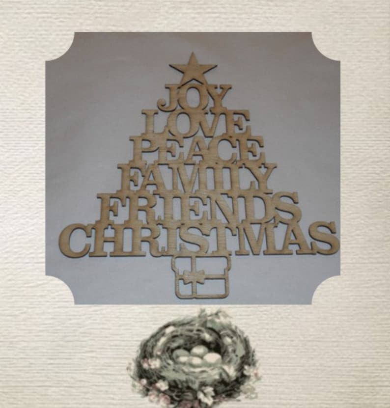 Christmas Tree Word Art Large Wood Cut Out Laser Cut