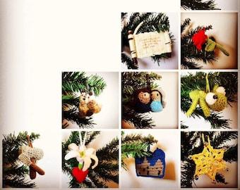 Set of 28 Crocheted Jesse Tree Christmas Ornaments
