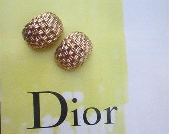Vintage Christian Dior Small Half Hoop Basket Weave Gold Tone Post Earrings, Huggie Designer Earrings, Less is More Earrings