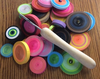 Slotted Quilling Tool With Wooden Handle