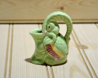 Vintage Miniature Elephant Pitcher Green Mini Made in Japan Porcelain Ceramic Collectible Wildlife Animal Figure