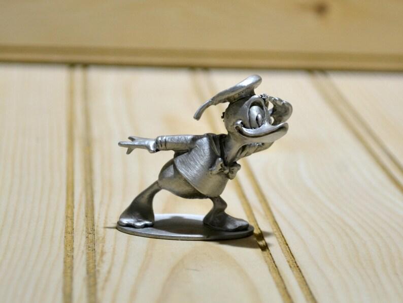 Vintage Donald Duck Pewter Figurine Figure Hudson Pewter Walt Disney  Productions Collectible Miniature 1970s