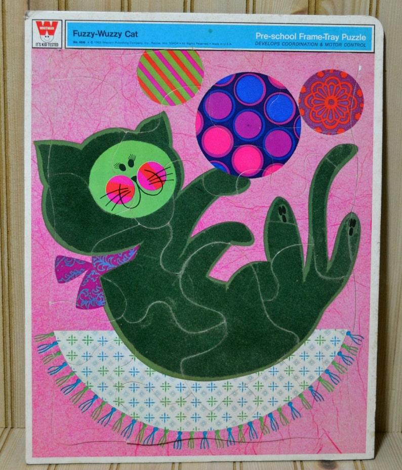 Vintage Fuzzy-Wuzzy Cat Tray Frame Board Puzzle 1969 Western Publishing