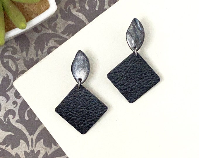 Faux Leather Polymer Clay Square Dangle Earrings Black Silver Marbled Geometric Statement Earrings