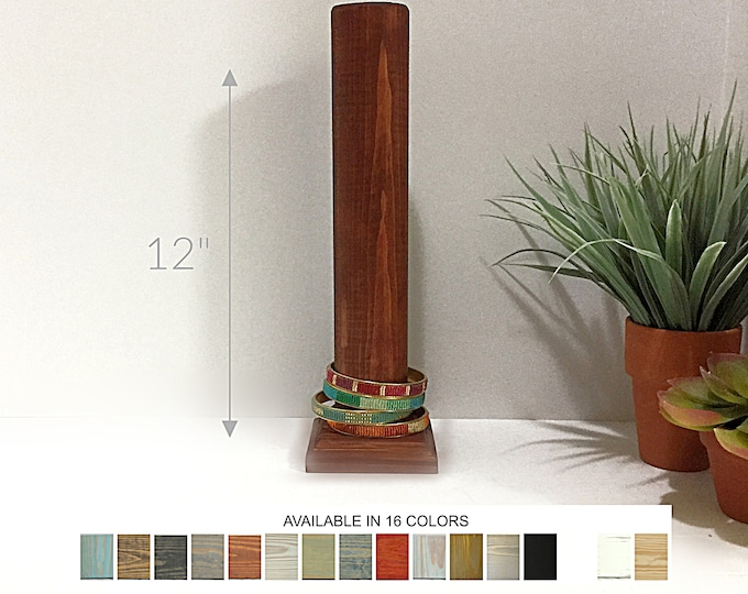 Bracelet Display Pole Stand 12-inch Cognac Wood
