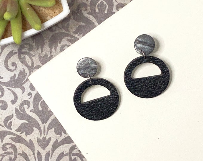 Faux Leather Polymer Clay Half Circle Earrings
