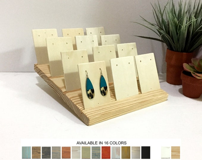 Earrings Display Stand 12 Cards Natural Wood