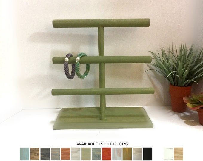 Bracelet Display Stand 3-Level Sage Green Wood