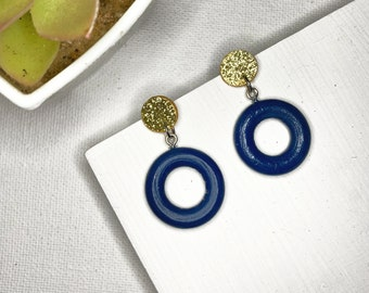 Blue Hoop Earrings Paper Wood Earrings Posts Gold Navy Glitter Print Painted Jewelry Earrings