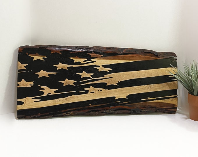 Wooden American Flag Sign Vintage Rustic Country Farmhouse Home Decor Wall Hanging Patriotic Art Live Edge Pecan