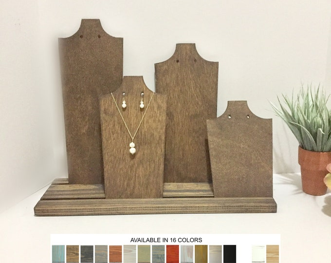 Necklace and Earrings Displays Wood Jewelry Displays Set of 4 Busts Stands Holders Neck Forms for Retail Fixtures Craft Market Shows
