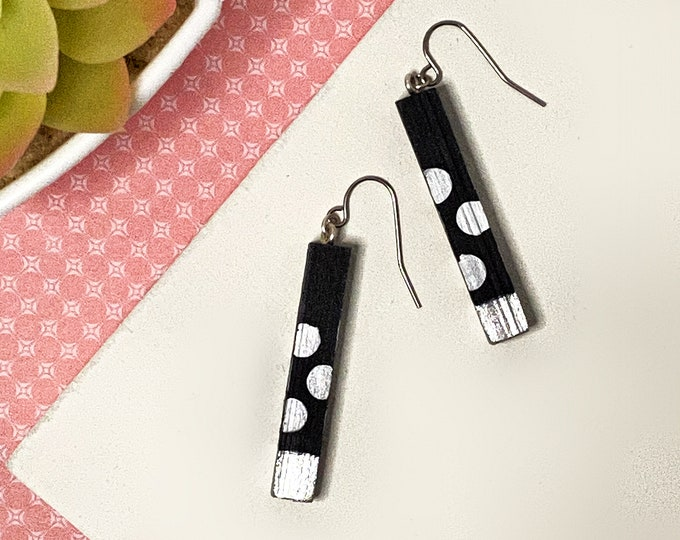 Painted Bar Polka Dot Earrings