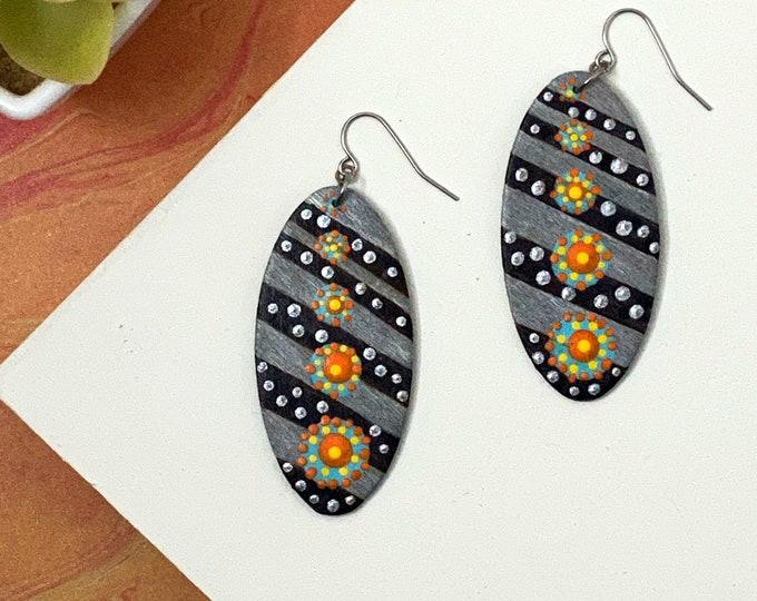 Tribal Painted Wood Striped Dangle Earrings