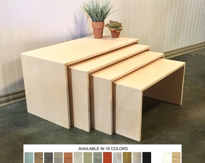 Display Tables Product Displays Nesting Tables Stands Risers Set of 4 Square Wooden Jewelry Displays Platforms