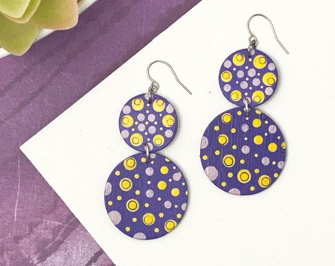 Boho Dot Painted Wood Earrings