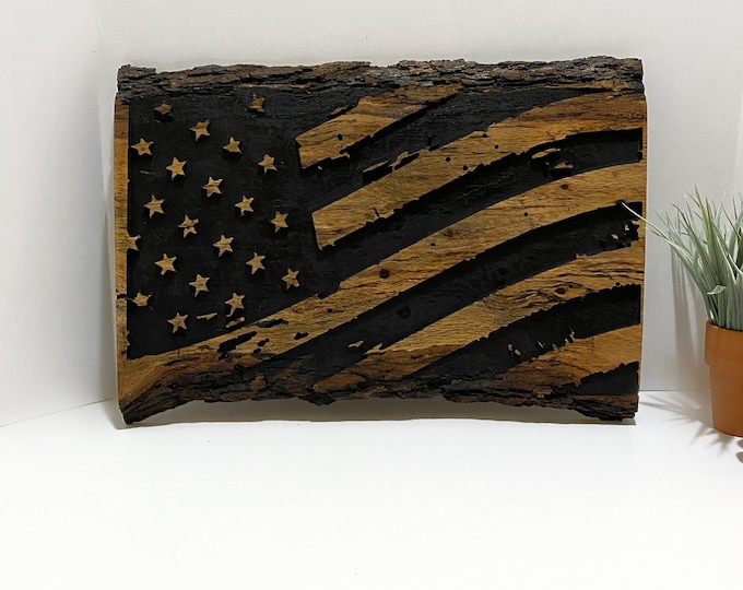 American Flag Sign Vintage Rustic Wooden Home Decor Wall Hanging Patriotic Art Live Edge Wood