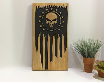 Wooden Skull 13 Stars Flag Sign Man Cave Home Decor Wall Hanging Art
