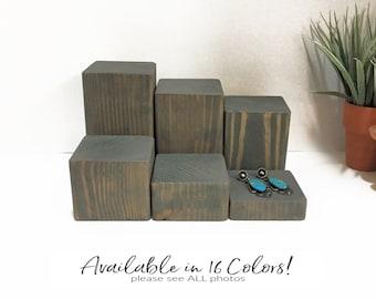 Wood Jewelry Displays Platforms Displays Blocks Plinths Risers Pedestals Set of 6 Retail Fixtures