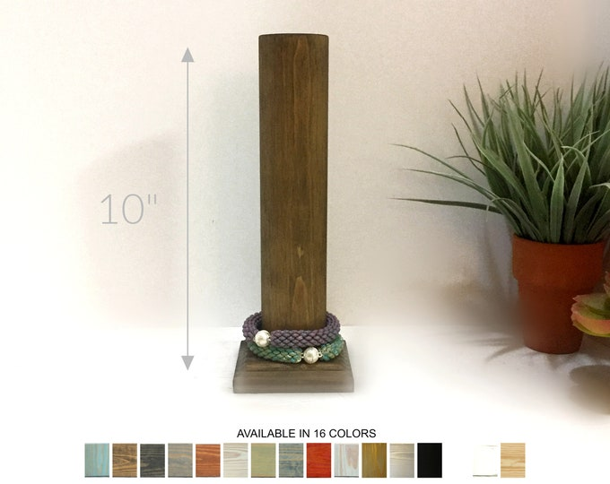 Bracelet Display Pole Stand 10-inches Ash Brown Wood