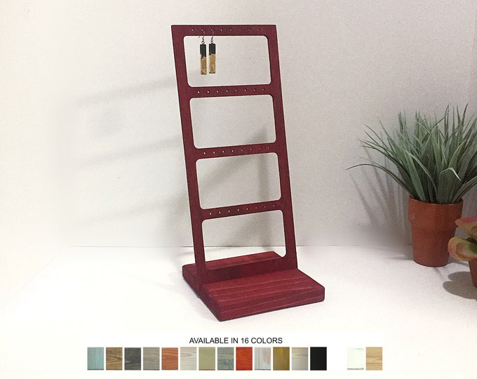 Earrings Display Stand with Cutouts Gray Grey Wood