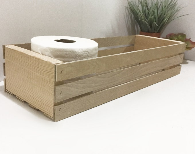 Toilet Paper Tissue Crate Farmhouse Bathroom Storage Organizer Decor