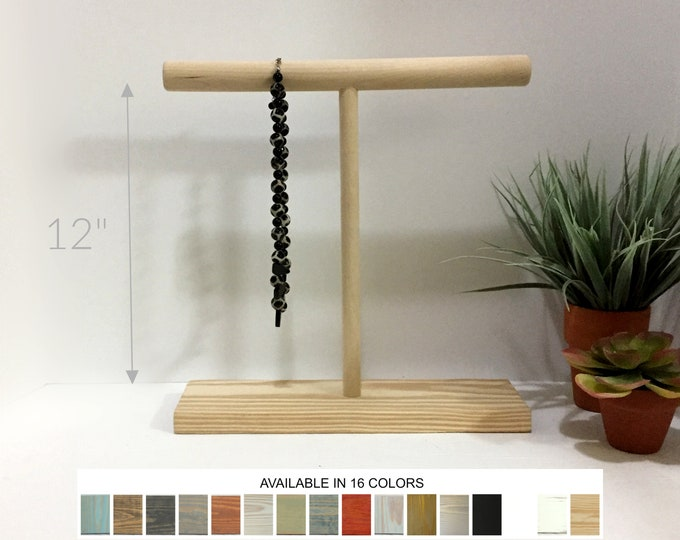 Wood T-Bar Displays 12 Inches Necklace Jewelry Displays Stands Holders Organizers for Retail Fixtures Craft Show Markets