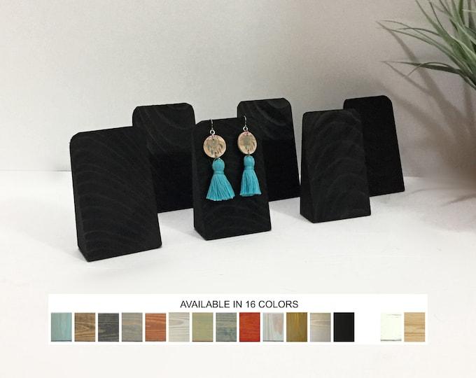 Earrings Display Wedges Set Matte Black Wood