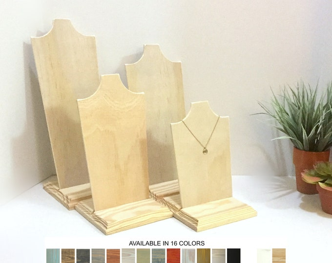 Necklace Earrings Displays Wood Jewelry Stands Displays Props Set of 4 Busts Stands Neck Forms Holders Retail Fixtures Craft Show Displays