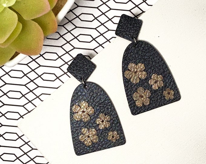 Faux Leather Floral Earrings
