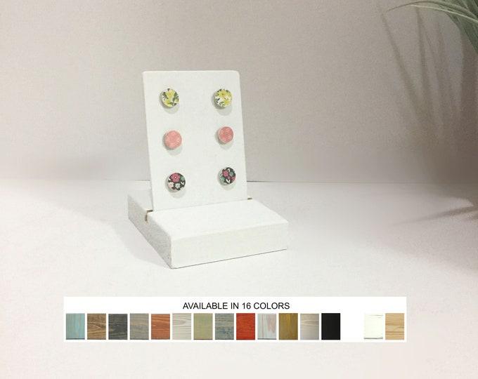 Earrings Display Stud Card Stand Matte White Wood