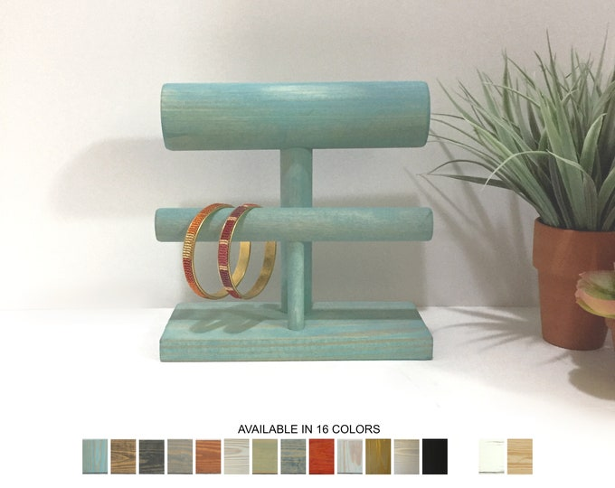 Bracelet Display Stand Double Small Aqua Blue