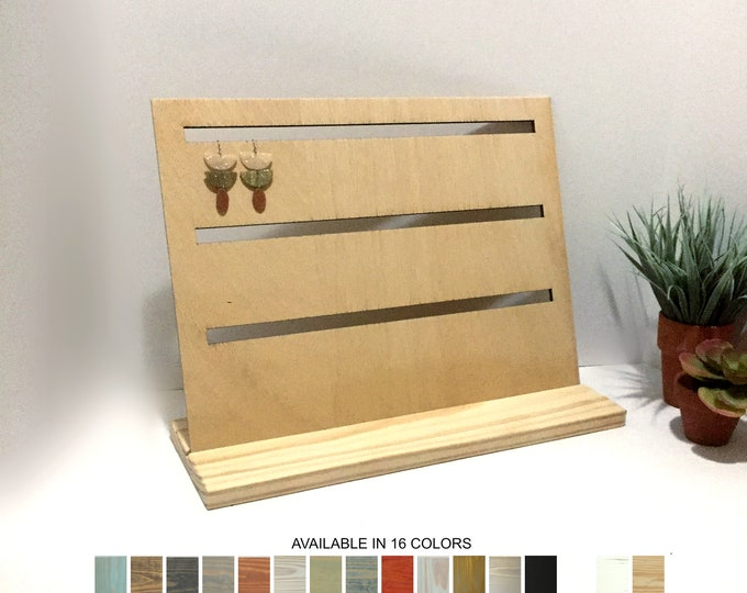 Wood Earrings Displays Slotted Board Jewelry Displays Stands Holders Store Retail Boutique Fixtures Craft Trade Show Props
