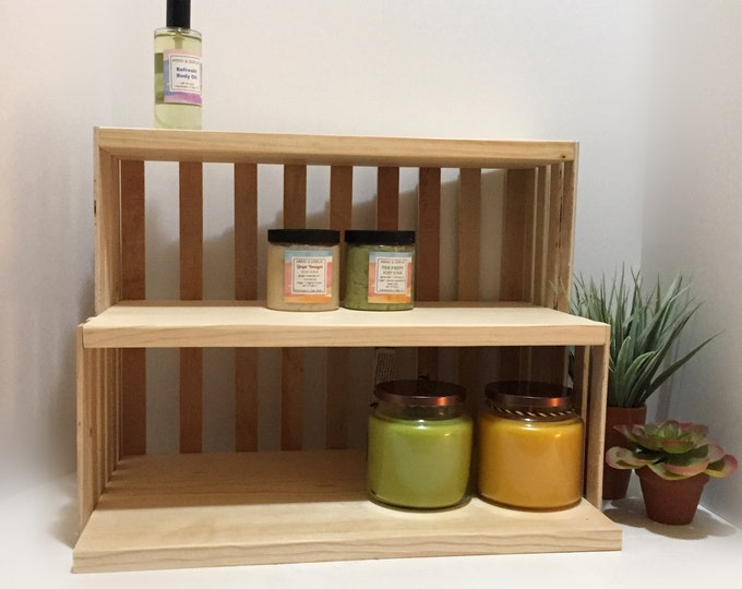 Wooden Crate 3 Shelf Candles Oils Body Sugar Scrubs Lotions Spa Yoga Products Display Shelf Shelving Holder Stand Organizer